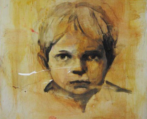 Davide Robert Ross ritratto di ragazzo su alluminio